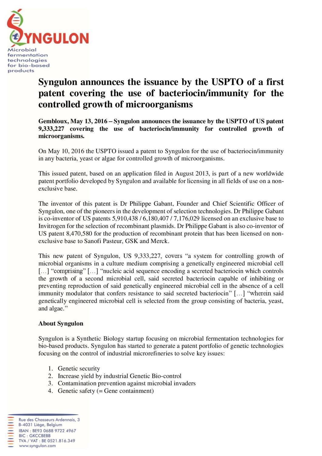 PRESS RELEASE  Syngulon - US Patent 9,333,227-page-001